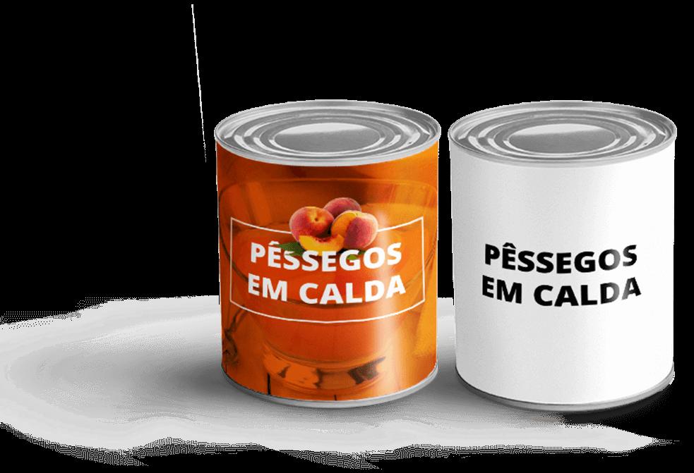 Latas de pêssego com e sem embalagem personalizada - Agência Tângelo
