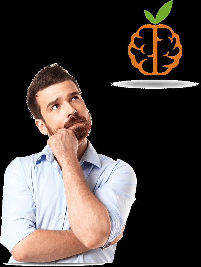 Empresário observando o logotipo da empresa - Agência Tângelo